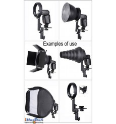 SLB-CN-EL - Support flash cobra type L avec sabot flash  (Canon/Nikon) pour baïonnette Elinchrom