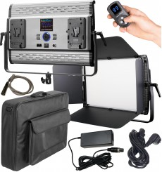 LEDP150PRODMX - Eclairage LED de studio Video & Photo 150W + 150W Bi-Couleur, DMX-512, Support de bat. 2x V-Mount, DC 36V - illu