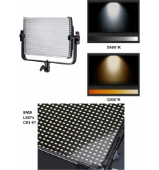 LEDP60PRODMX - Eclairage LED de studio Video & Photo 60W + 60W Bi-Couleur, DMX-512, Support de bat. 2x NP-F750/960, DC 13V-19V -