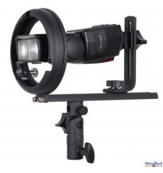 SLBT-CN-BS - Support flash cobra type T avec sabot flash (Canon/Nikon) pour baïonnette Bowens-S
