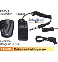 RT604D - Kit déclencheur flash Radio-wave - émetteur 4-canaux + récepteur (batteries 2xAAA 1.5V non inclus) - illuStar