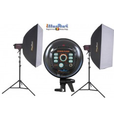 Kit Flash de Studio Photo - 2x FI-500A 500 Ws, 2x trépied 250cm, 2x boîte à lumière 80x120cm - illuStar