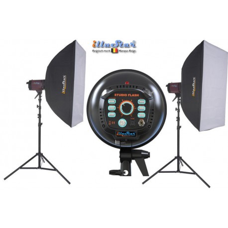 Kit Flash de Studio Photo - 2x FI-800A 800 Ws, 2x trépied 250cm, 2x boîte à lumière 80x120cm - illuStar